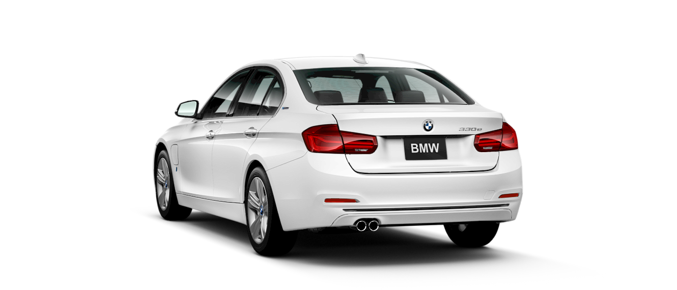 2017 BMW 330e iPerformance White Exterior Rear View
