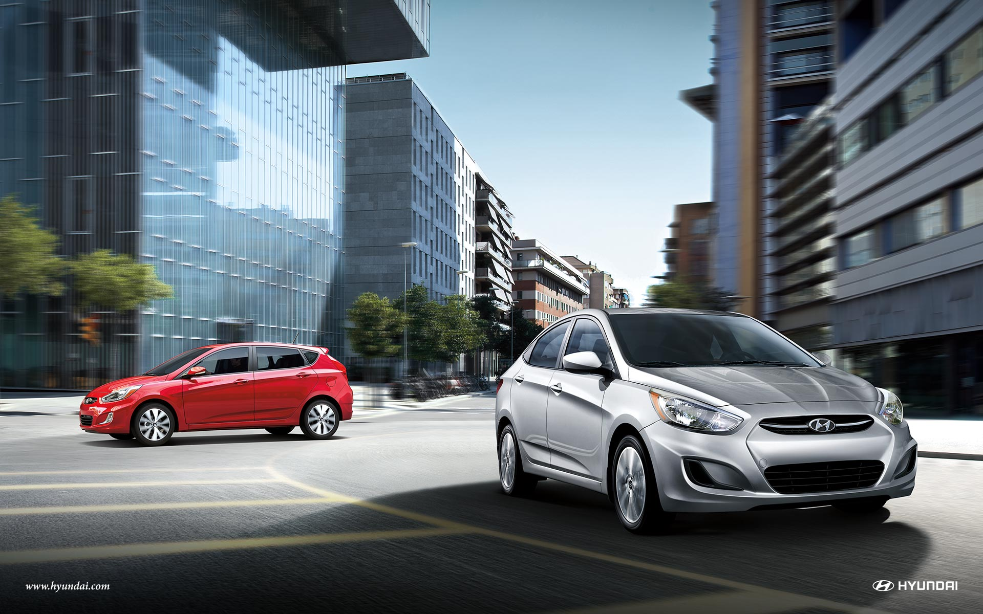 2017 Hyundai Accent Silver and Red Exterior