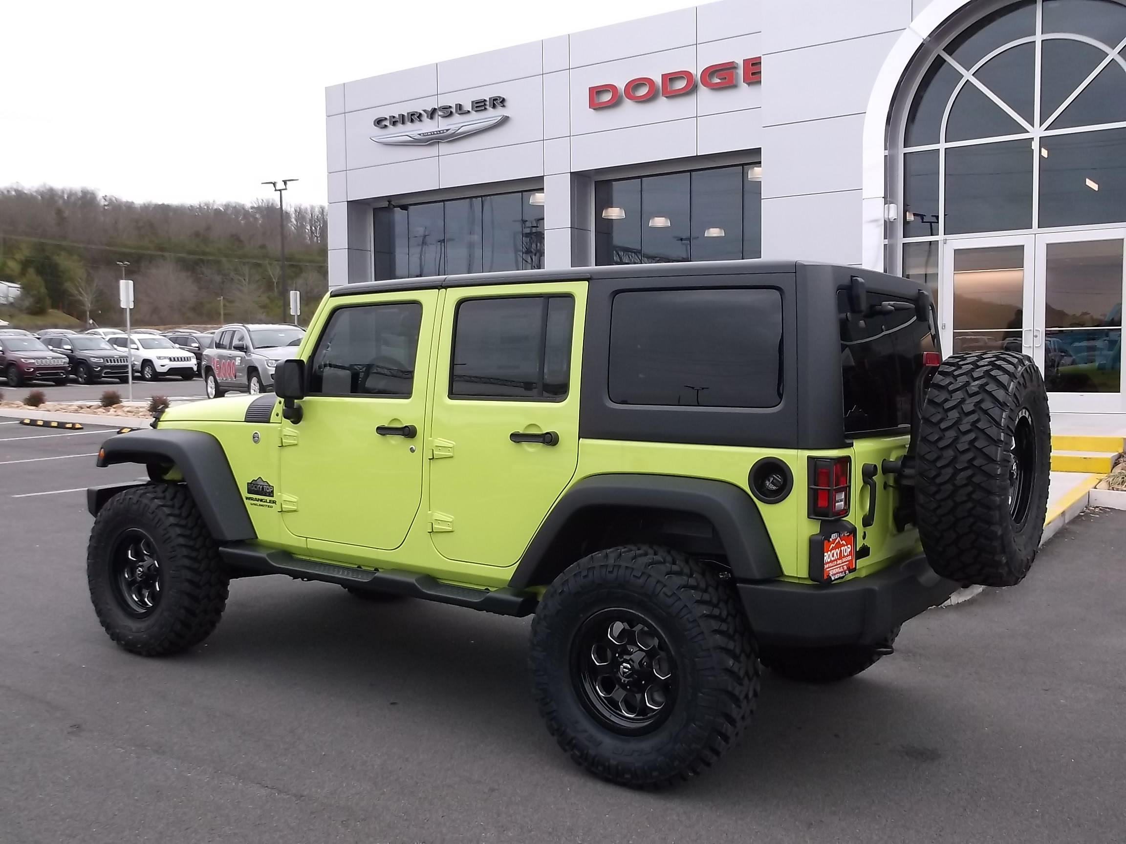 2017 Jeep Wrangler Unlimited Rocky Top Edition Kodak Tn Custom Dash Green Exterior Rear Side View