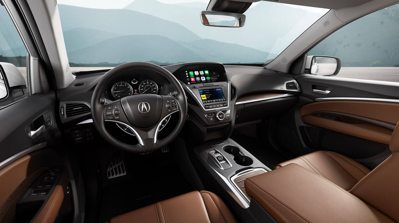 2018 Acura MDX Black and Brown Leather Interior