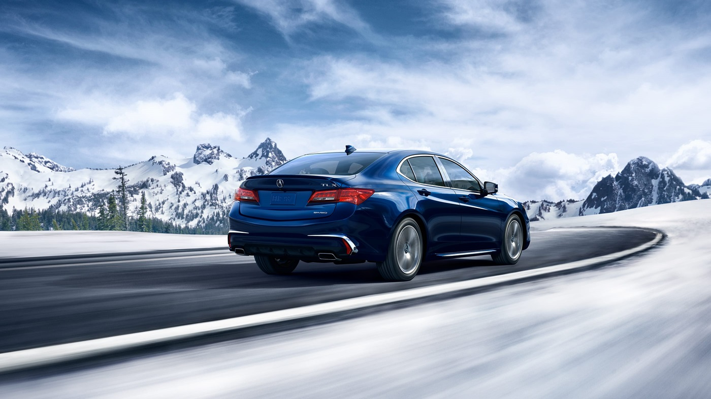 2018 Acura TLX with Advance Package Blue Exterior Rear View