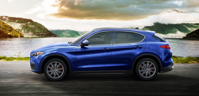 2018 Alfa Romeo Stelvio Blue Exterior Side Profile