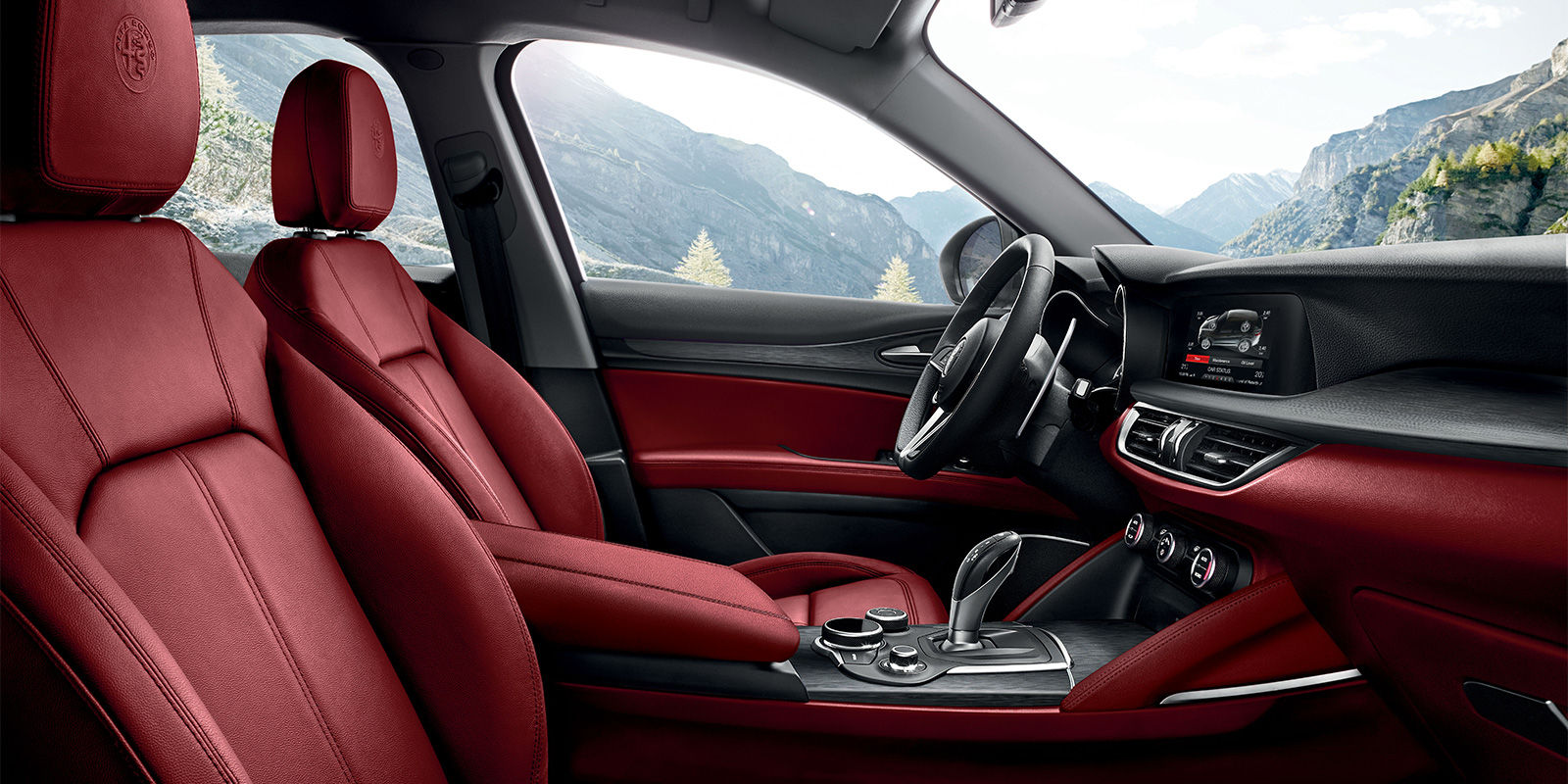 2018 Alfa Romeo Stelvio Red Black Interior
