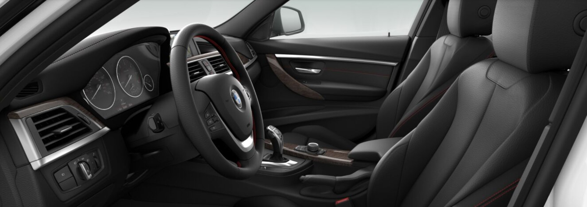 2018 BMW 328d Sedan Black Leather Interior Picture