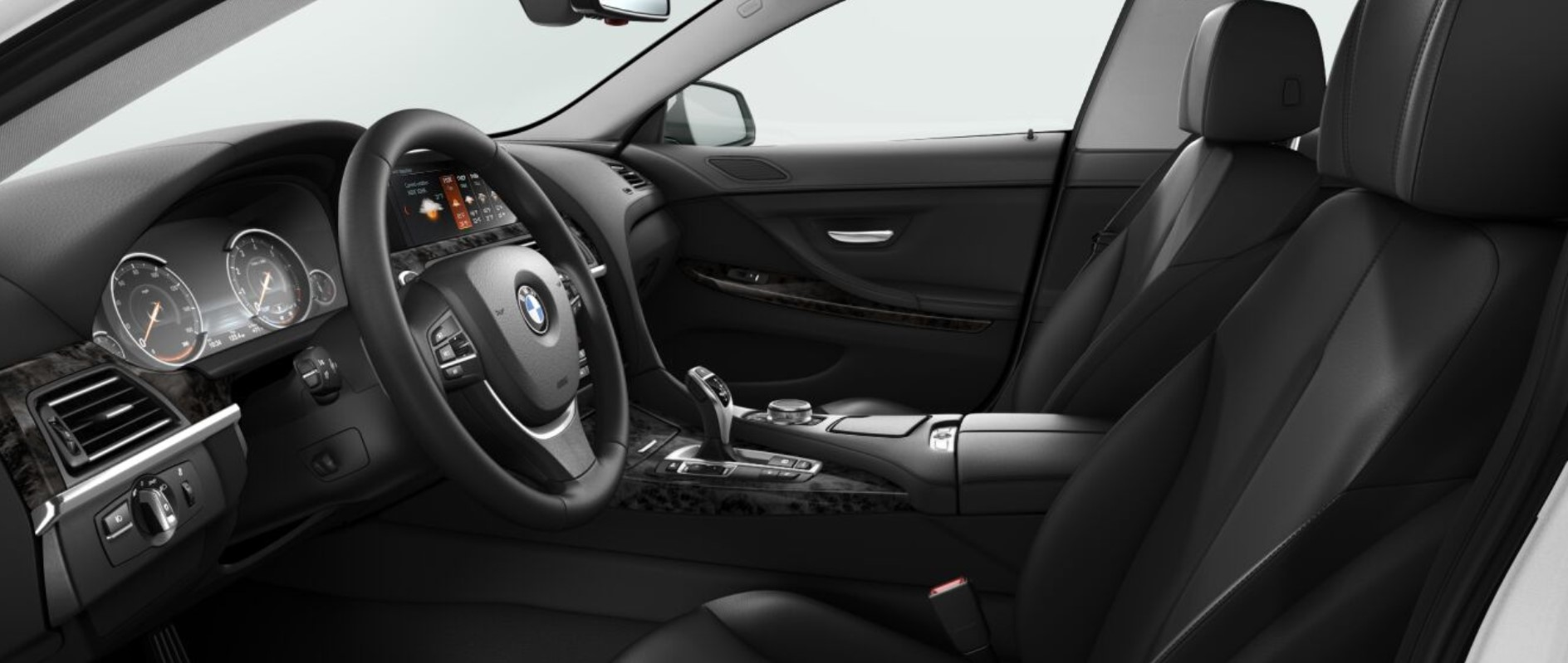 2018 BMW 640i Sedan Black Leather Interior Picture