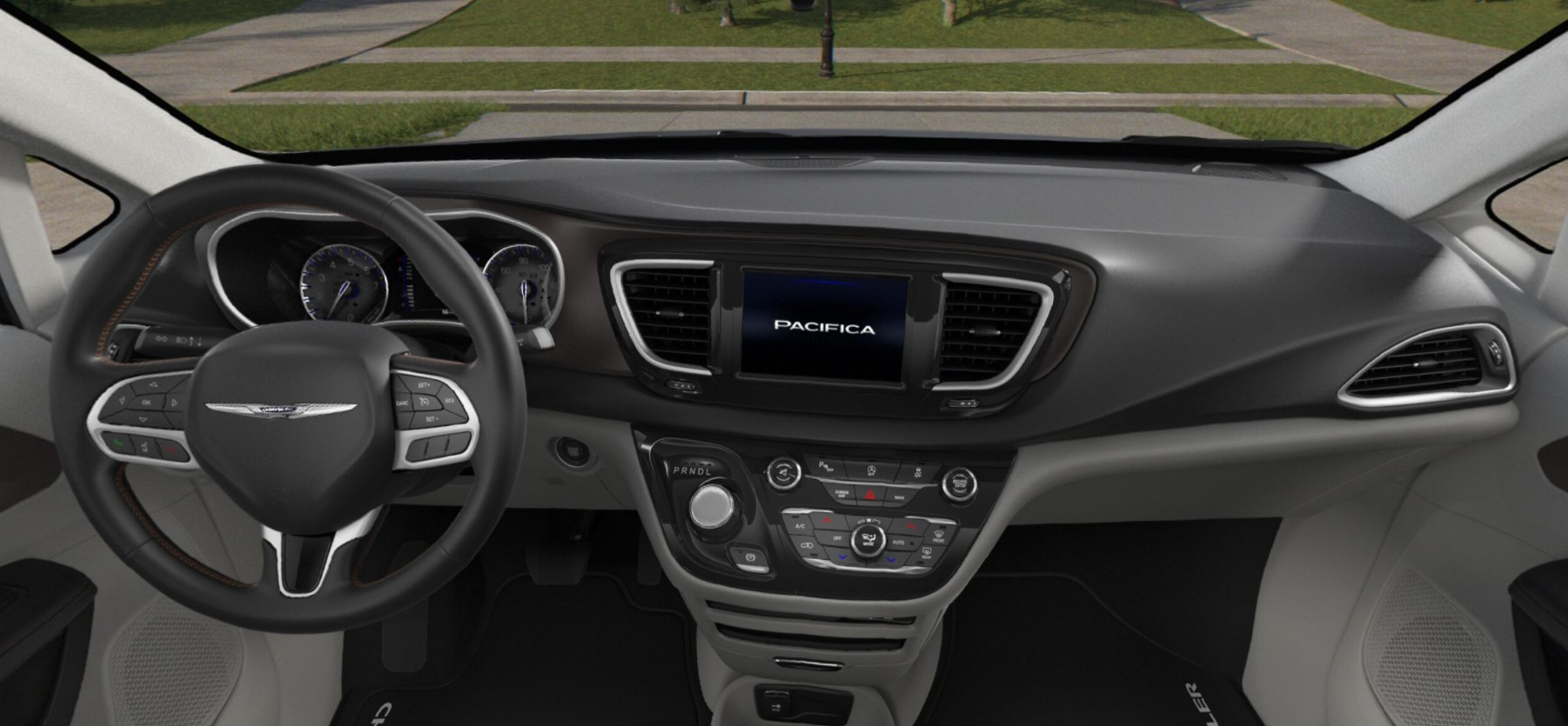 2018 Chrysler Pacifica Touring Plus Rear Black and White Interior