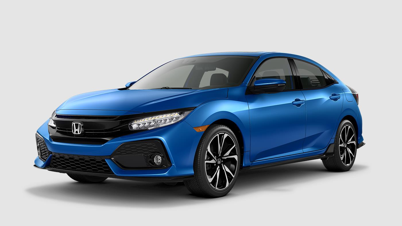 Picture of 2018 Honda Civic Hatchback Sport Touring Aegean Blue Front Exterior