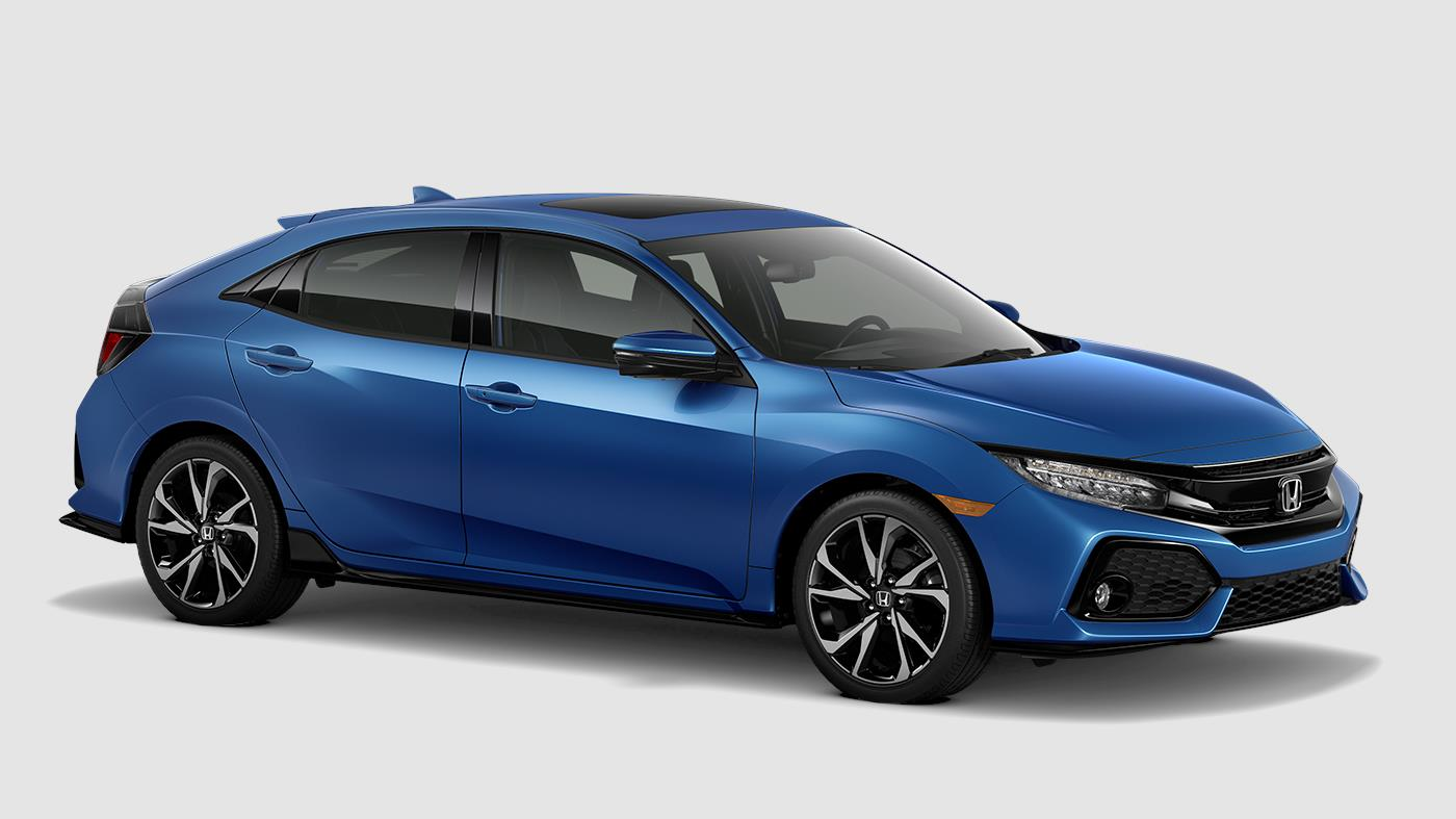 Picture of 2018 Honda Civic Hatchback Sport Touring Aegean Blue Side Exterior
