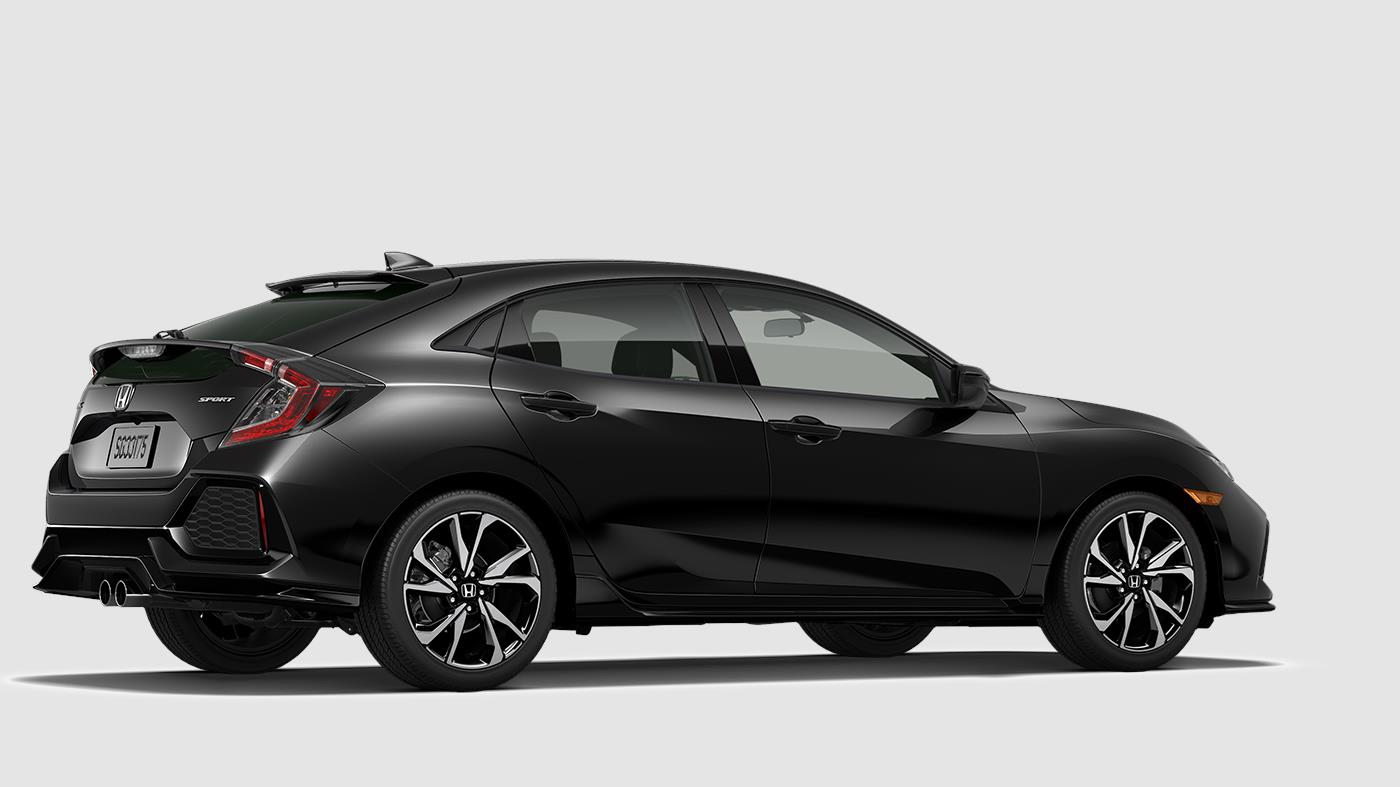 2018 Honda Civic Sport Black Crystal Exterior Rear Side View