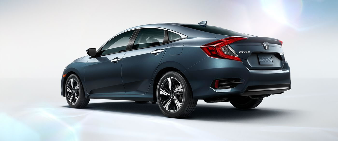 2018 Honda Civic Sedan Blue Exterior Rear View
