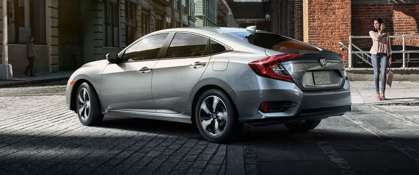 2018 Honda Civic Sedan Silver Exterior Rear View