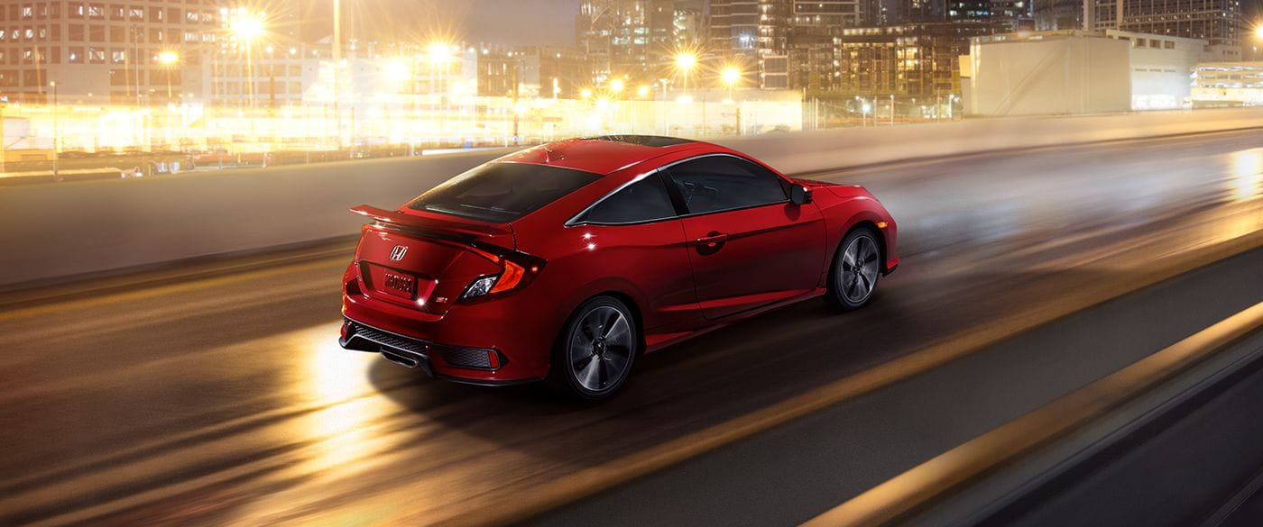 2018 Honda Civic Si Coupe Ralle Red Exterior Side Rear View
