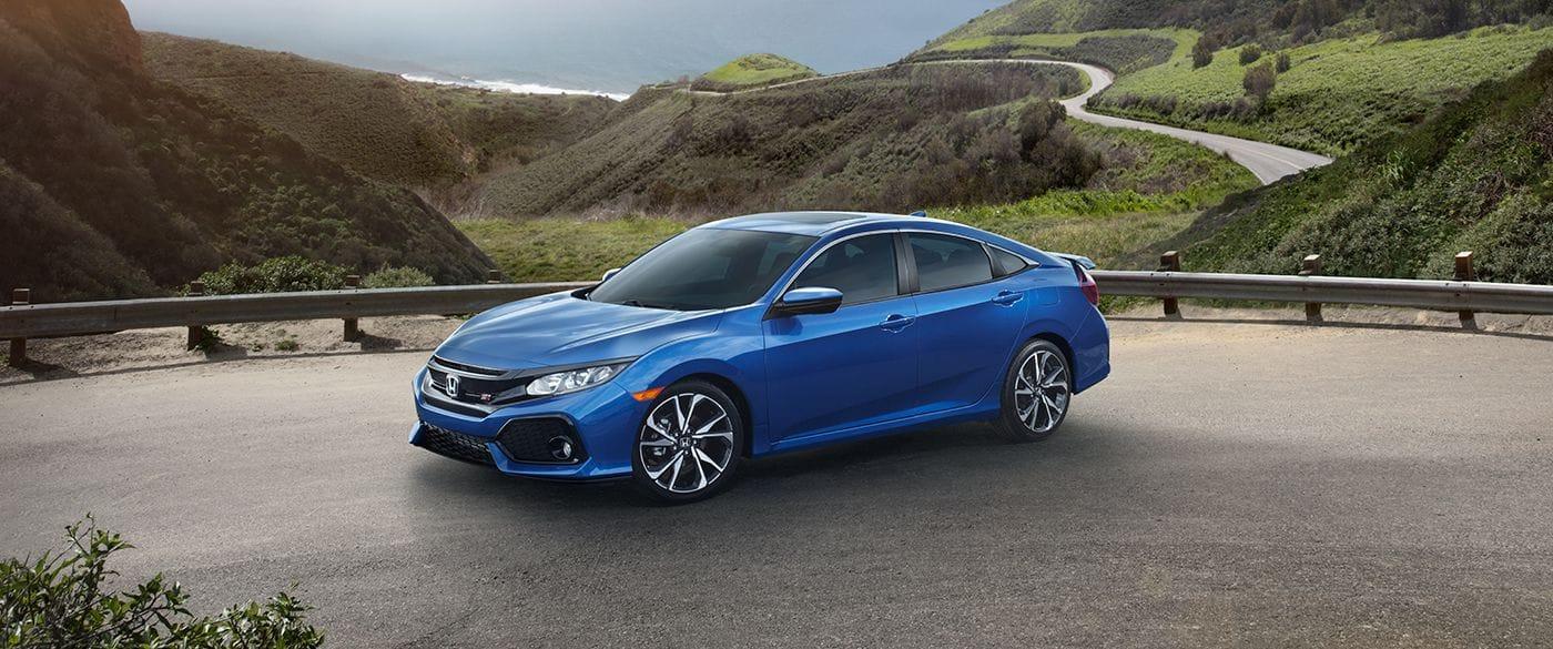 2018 Honda Civic Si Sedan Blue Exterior Side View