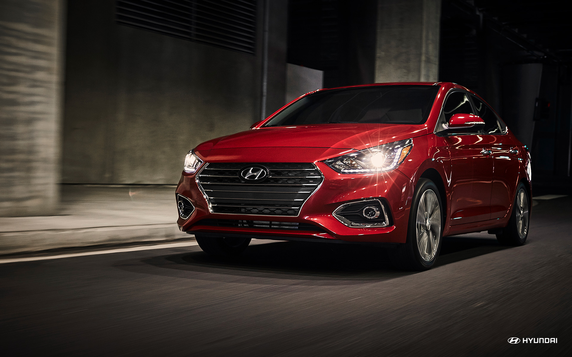 2018 Hyundai Accent Pomegranate Red Exterior Front