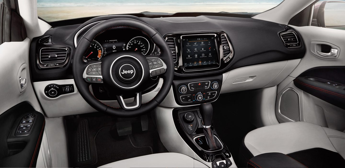 2018 Jeep Compass Side Black and White Interior
