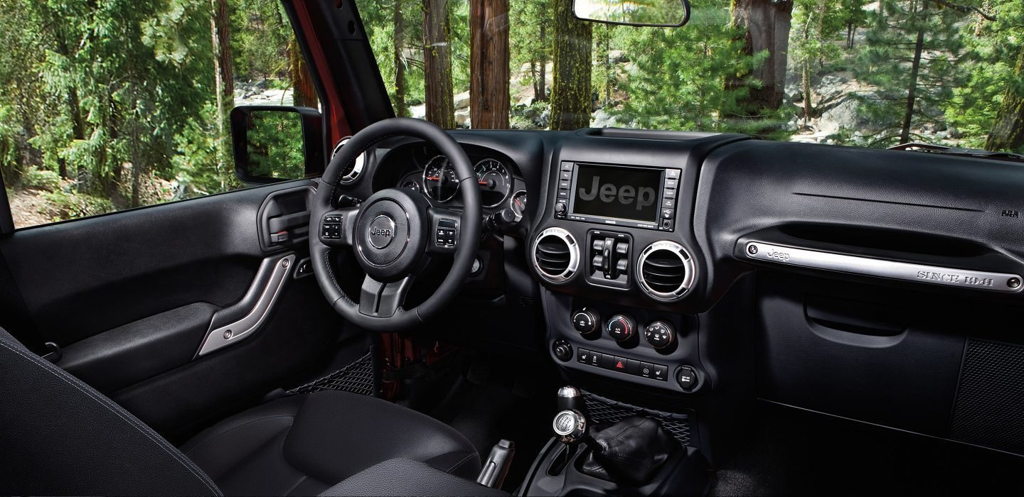 2018 Jeep Wrangler JK Black Front Interior Dashboard and Steering Wheel