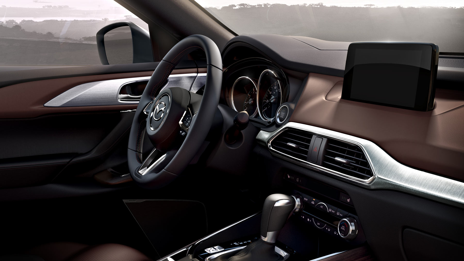 2018 Mazda CX-9 Front Interior Dashboard and Steering Wheel