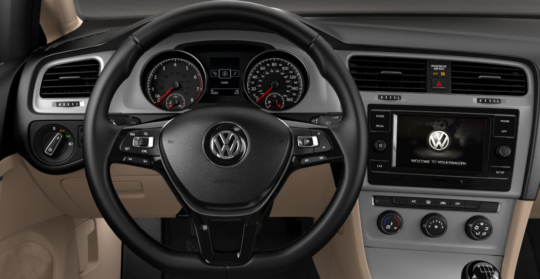 2018 Volkswagen Golf SportWagen S Interior Steering Wheel Detail Picture.png
