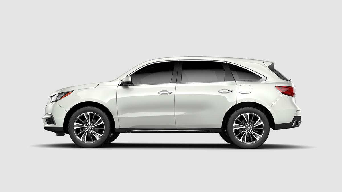 2019 Acura MDX with Technology Package White Exterior Side Profile Picture