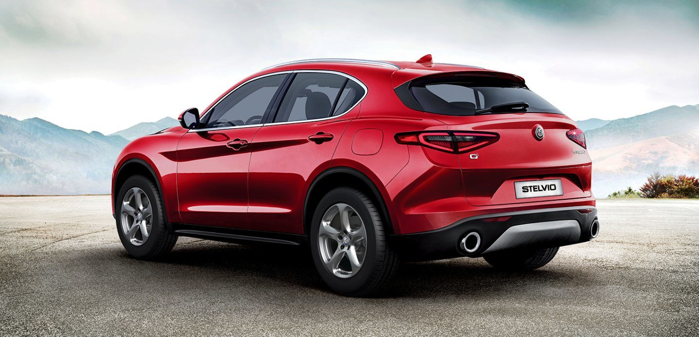 2019 Alfa Romeo Stelvio Red Exterior Rear View Picture