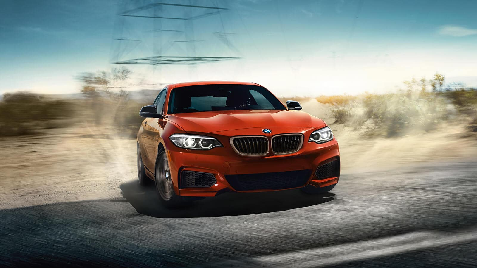 2019 BMW 230i Front Orange Driving Exterior