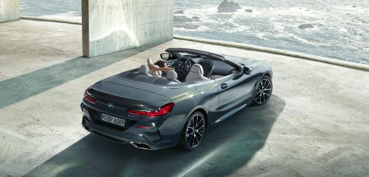 2019 BMW 8 Series Convertible Blue Gray Rear Exterior