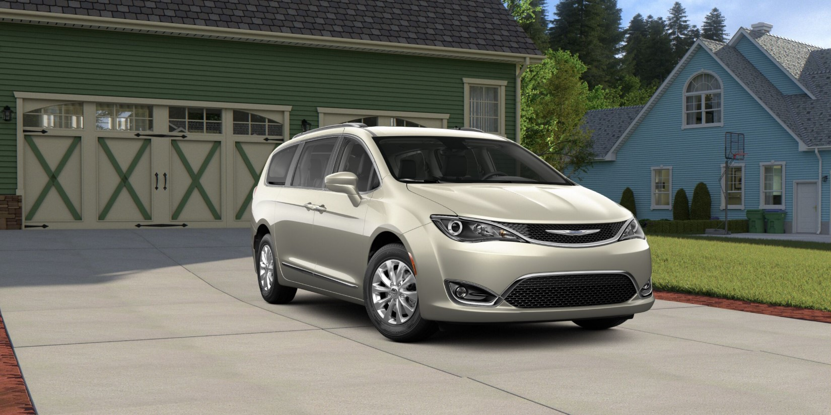 2019 Chrysler Pacifica Touring White Pearl Exterior Front Picture