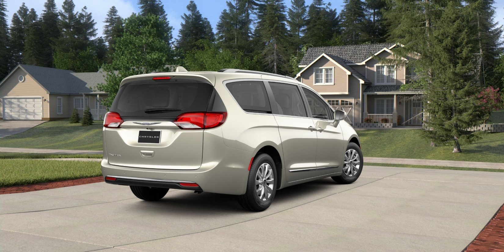 2019 Chrysler Pacifica Touring White Pearl Exterior Rear Picture