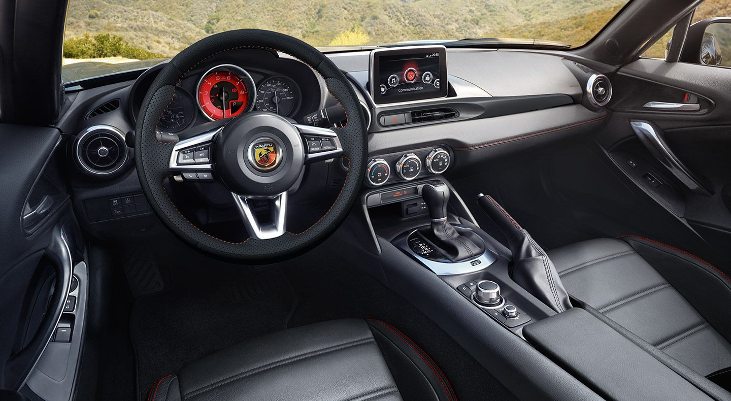 2019 FIAT 124 Spider Black Leather Front Interior Picture