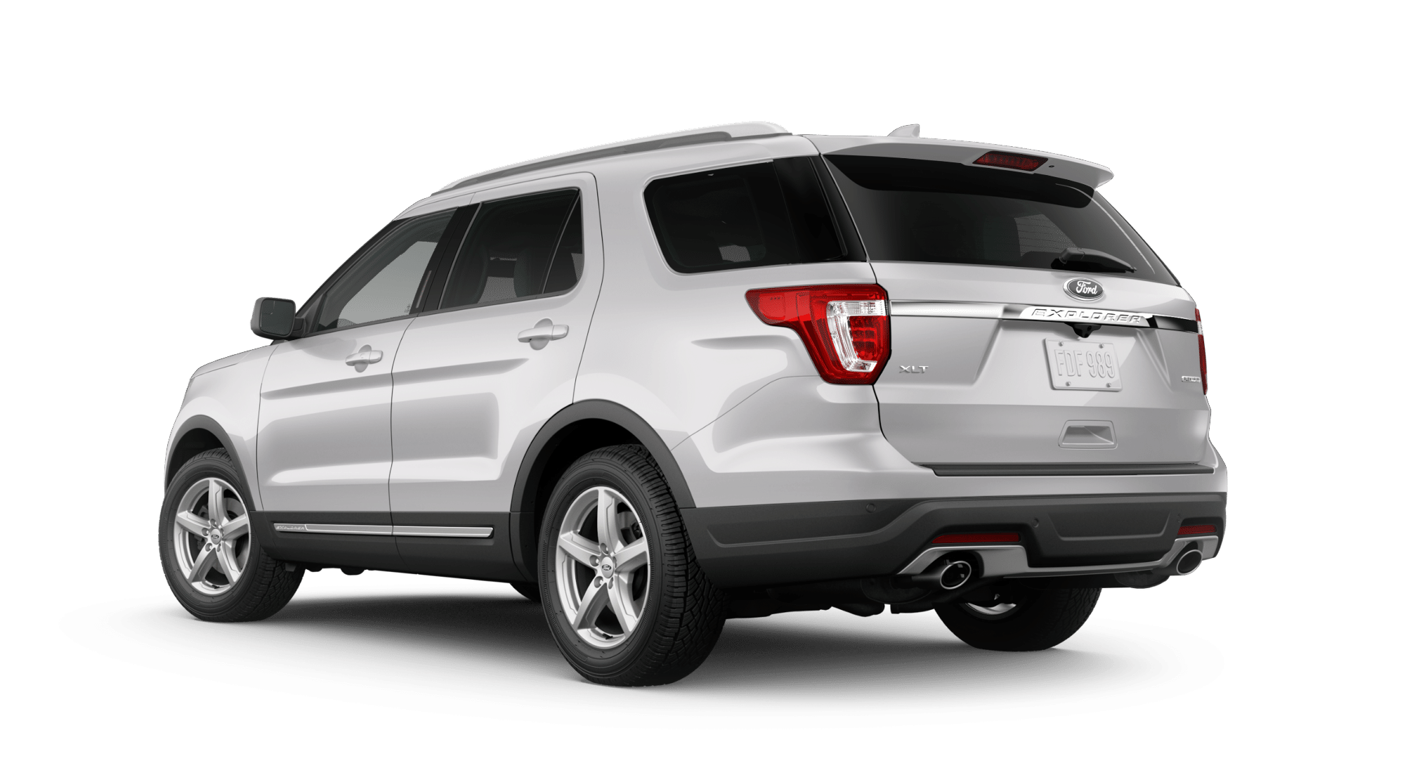 2019 Ford Explorer XLT Rear White Silver Exterior