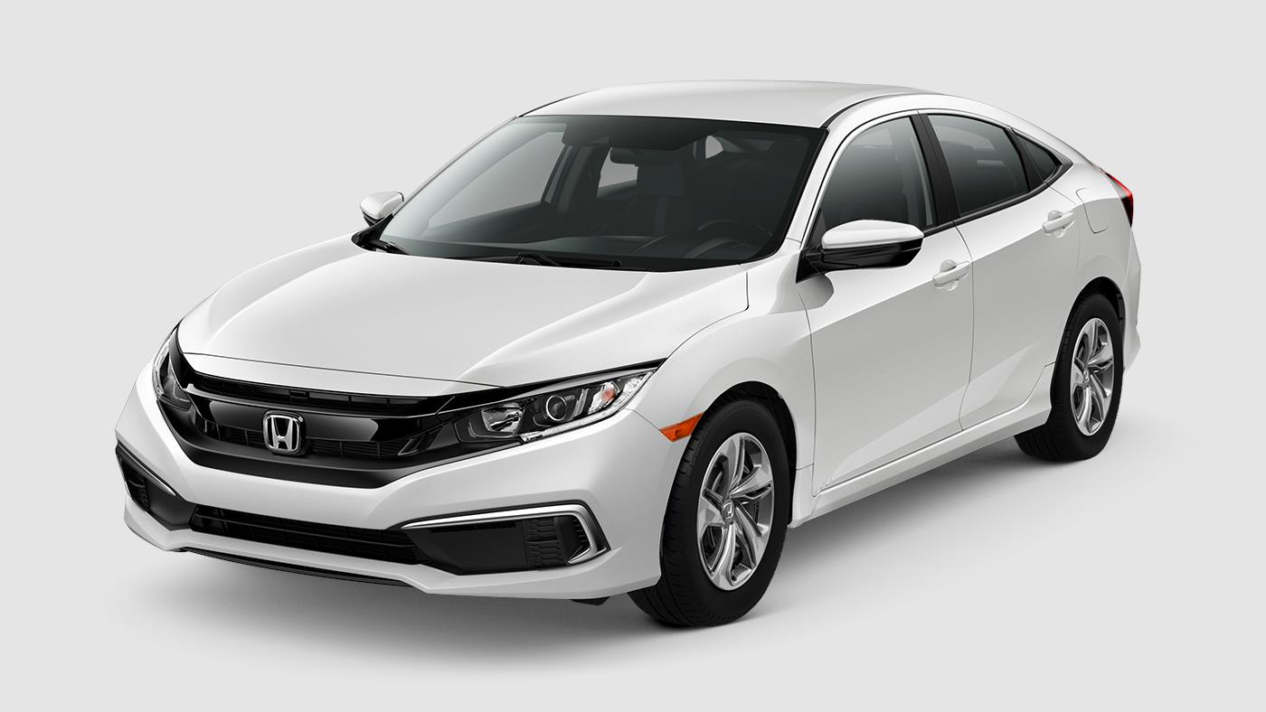 2019 Honda Civic Sedan LX White Front Exterior Picture