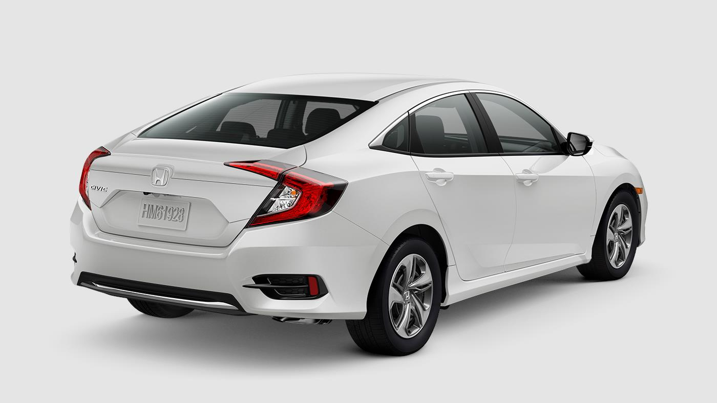 2019 Honda Civic Sedan LX White Rear Exterior