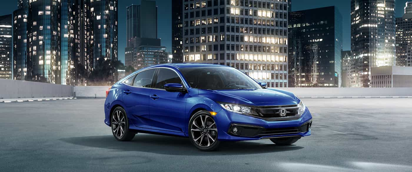 2019 Honda Civic Sedan Sport Blue Exterior Front View