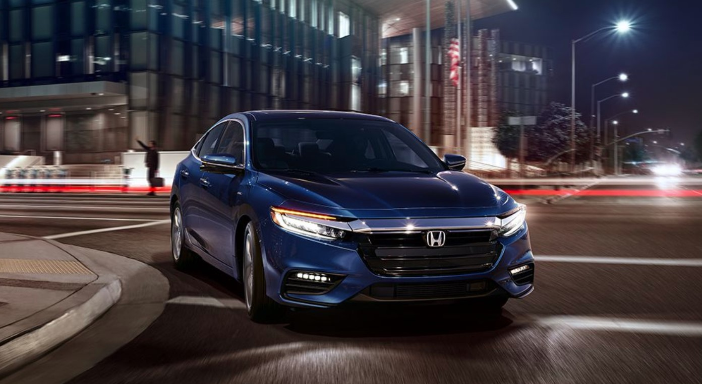 2019 Honda Insight Front Blue Driving Exterior
