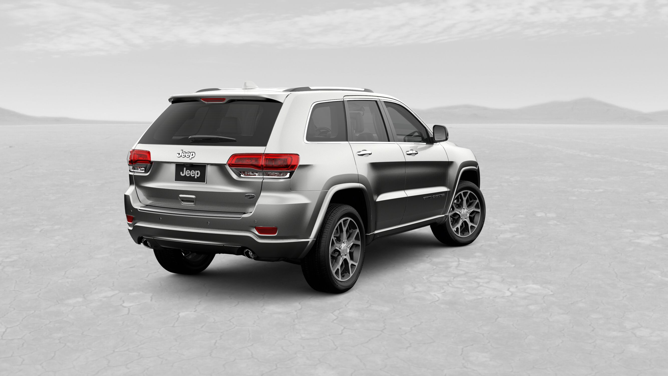 2019 Jeep Grand Cherokee Overland Ivory White Exterior Rear View