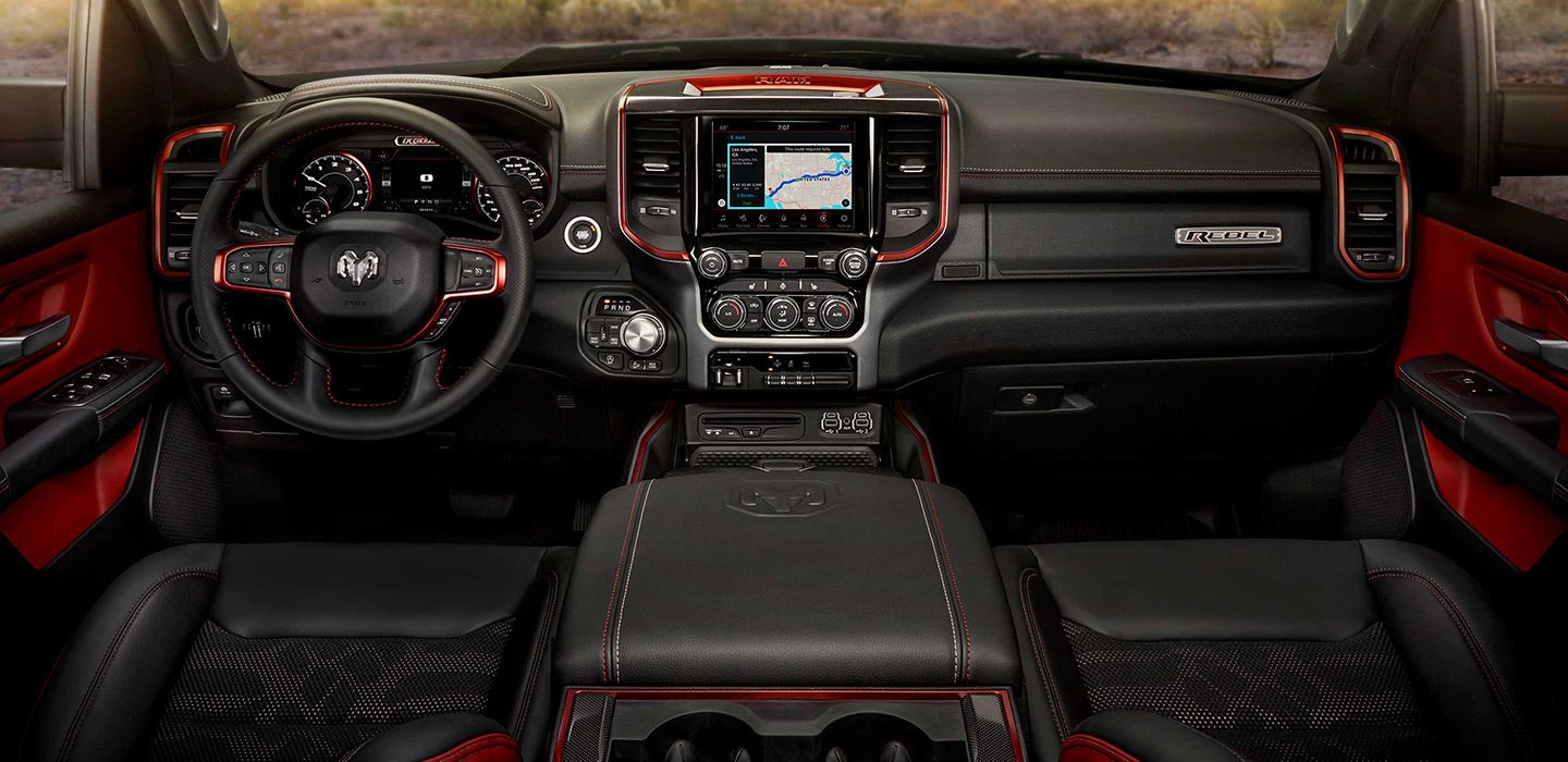 2019 Ram 1500 Rebel Dashboard Red and Black Interior