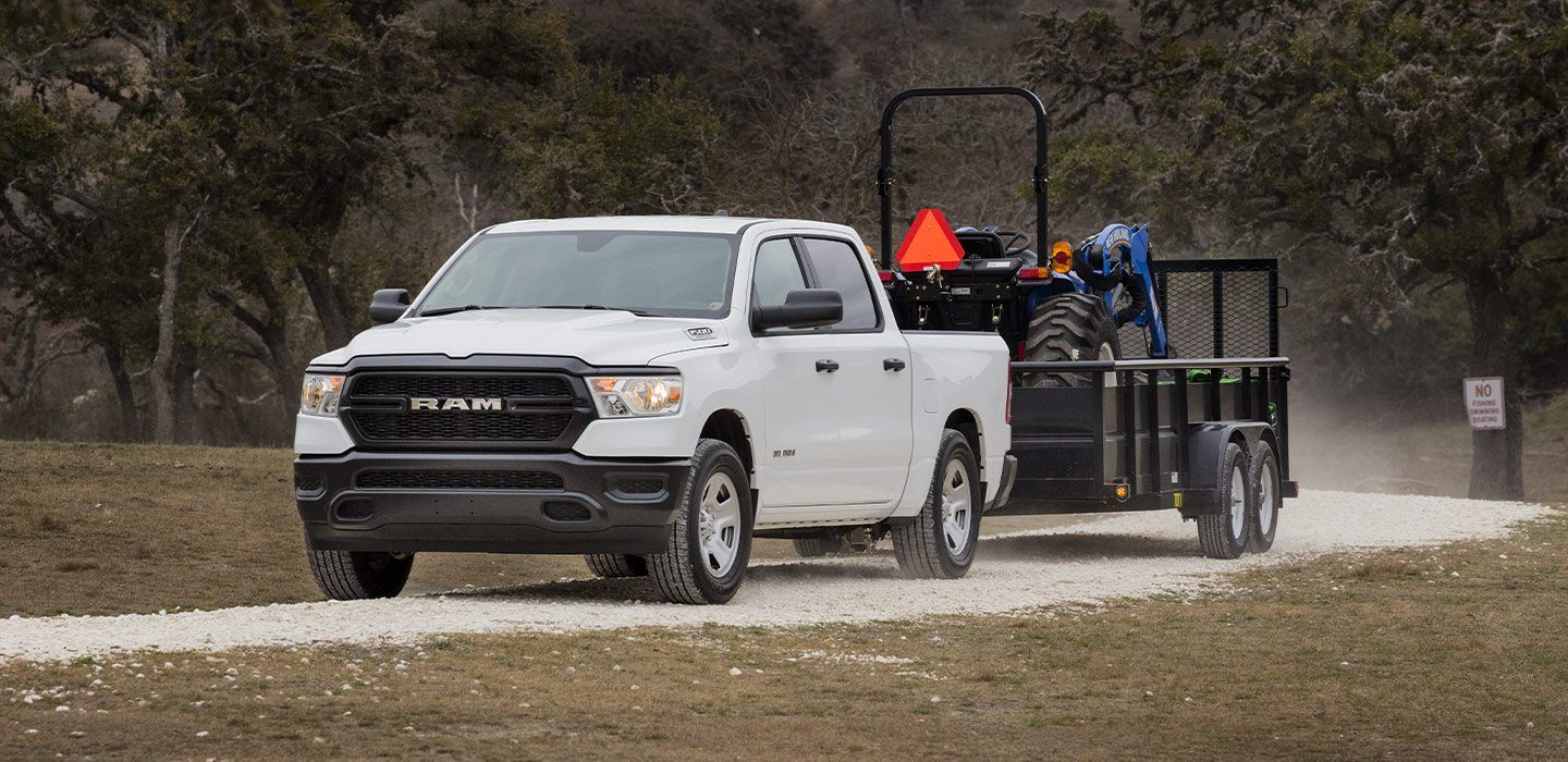 2019 Ram 1500 Tradesman Front Hauling White Exterior