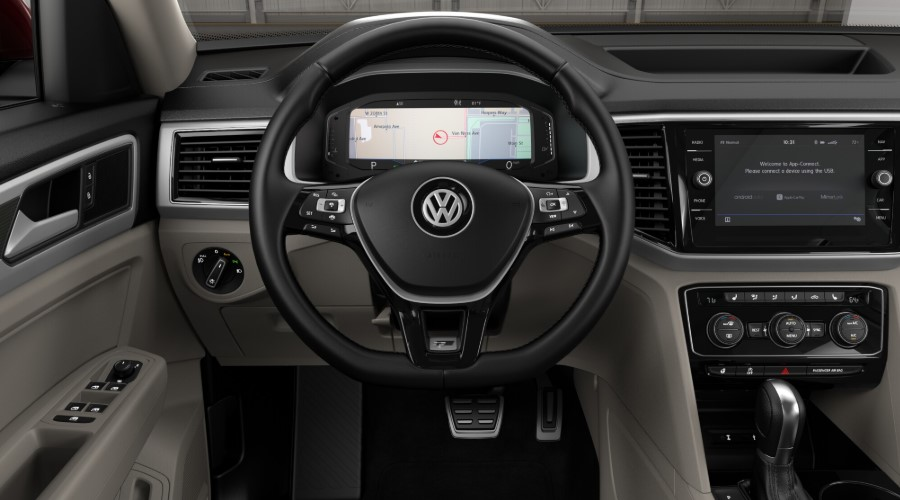 2019 Volkswagen Atlas V6 SEL R-Line Red Front Interior Steering Wheel