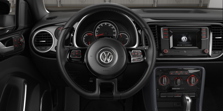 2019 Volkswagen Beetle Convertible S Black Front Interior Steering Wheel Detail