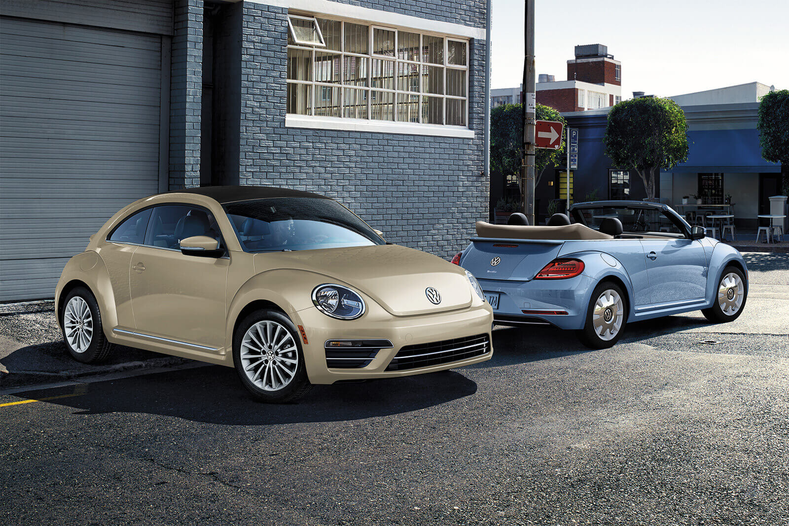 2019 Volkswagen Beetle Blue and Tan Parked Exterior