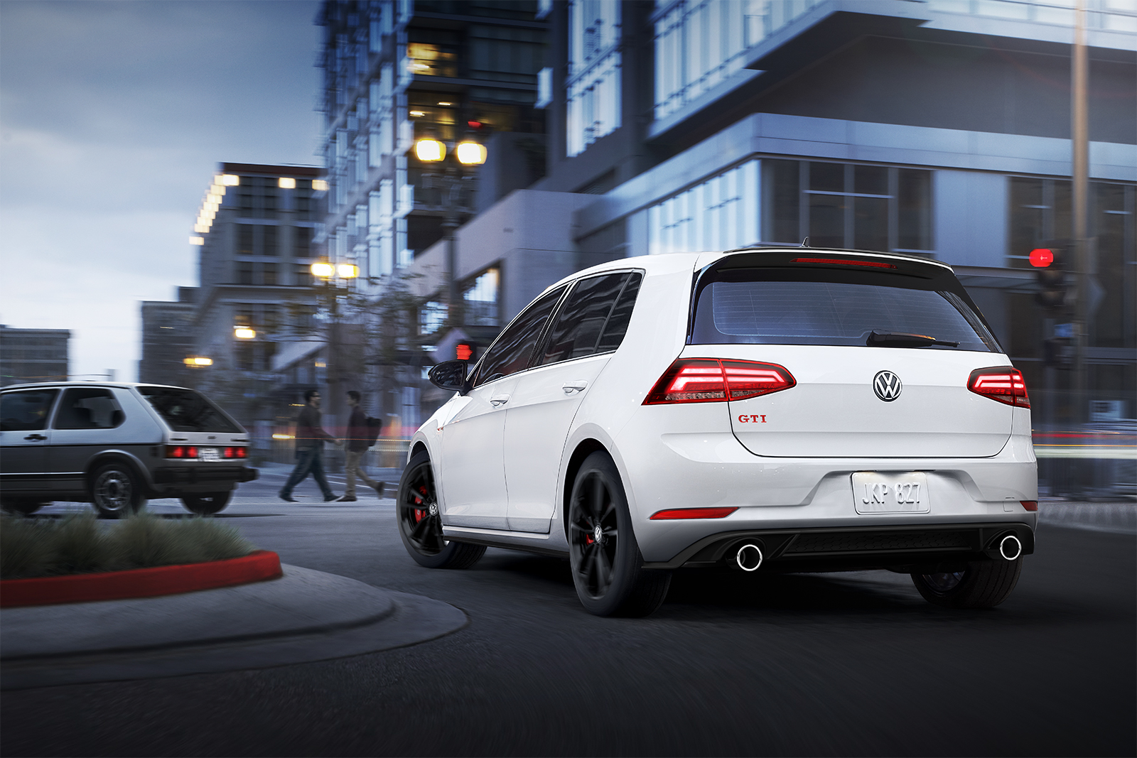 2019 Volkswagen Golf GTI White Rear Exterior