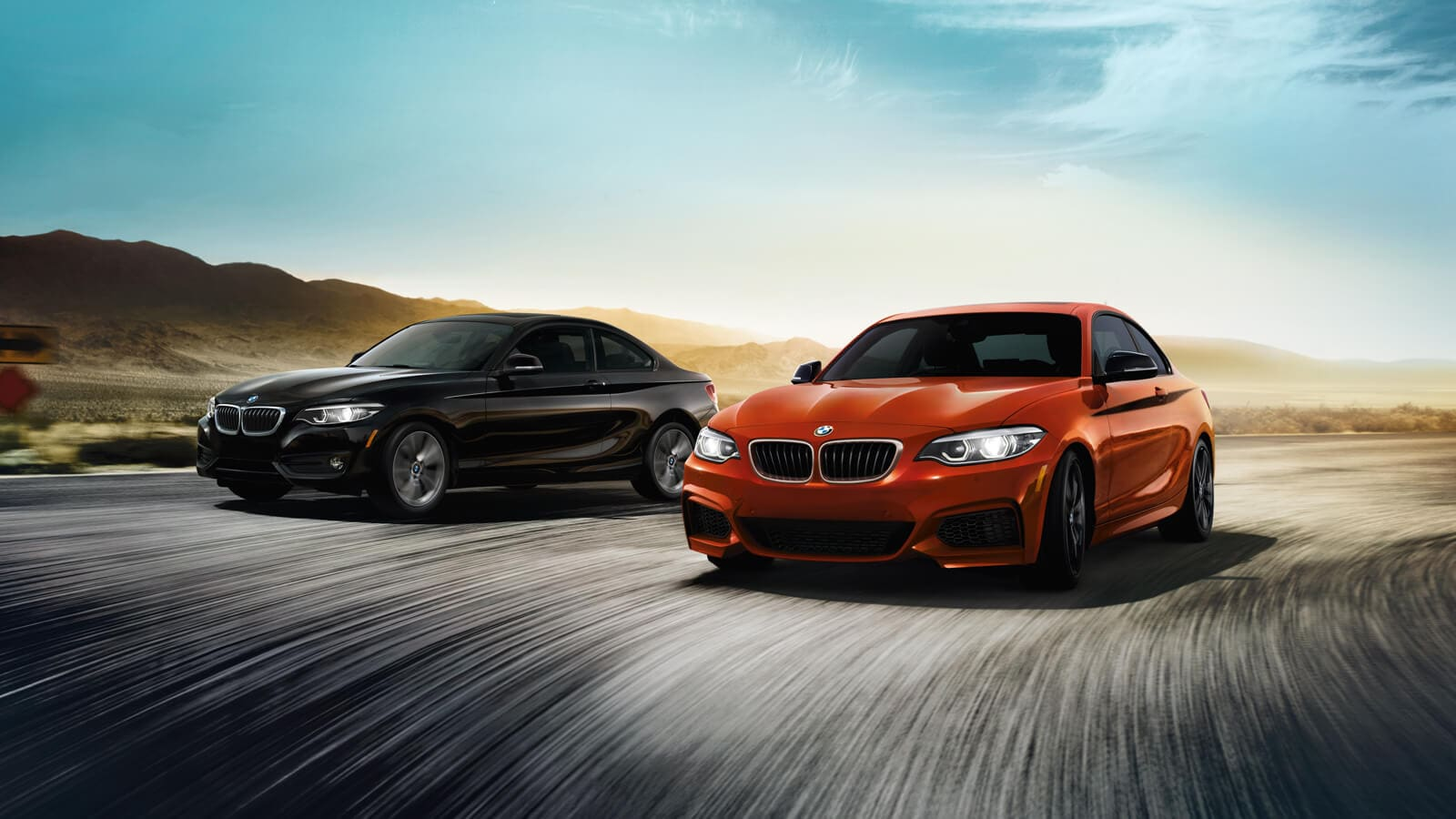 2020 BMW 2 Series 230i Front View Exterior Black and Orange Lineup Picture