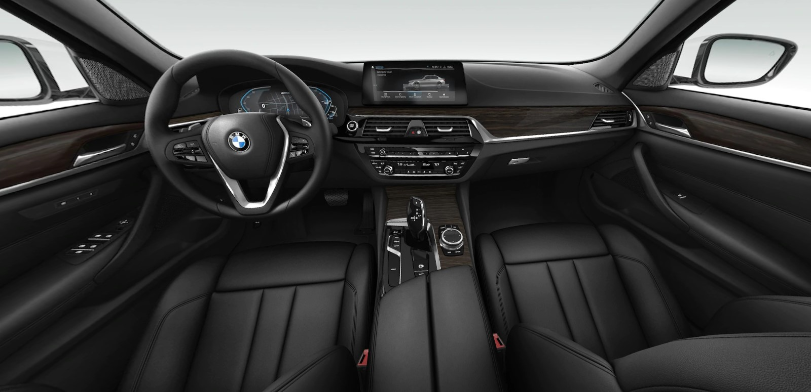 2020 BMW 5 Series 530e Front Interior Dash and Steering Wheel