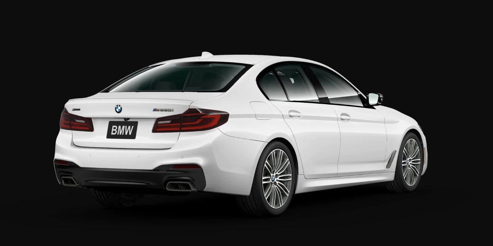 2020 BMW 5 Series M550i xDrive White Exterior Rear View
