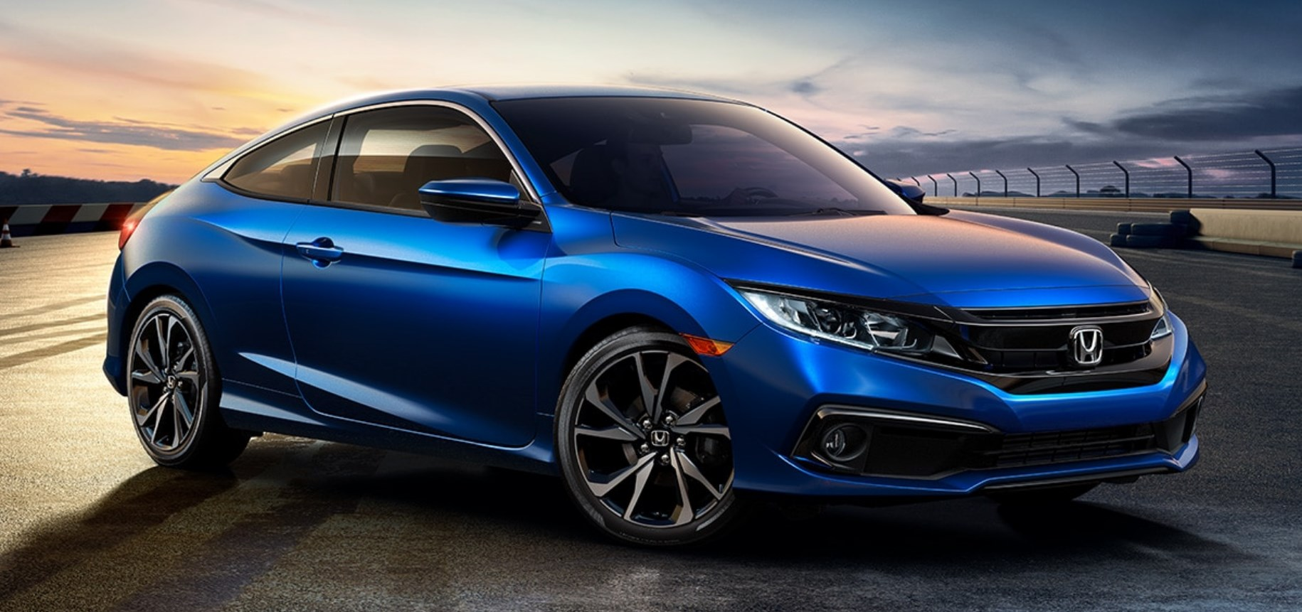 2020 Honda Civic Coupe Front Blue Exterior Picture