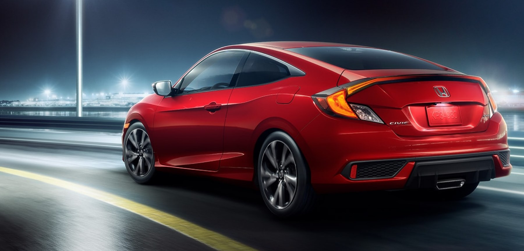 2020 Honda Civic Coupe Rear Red Exterior Picture