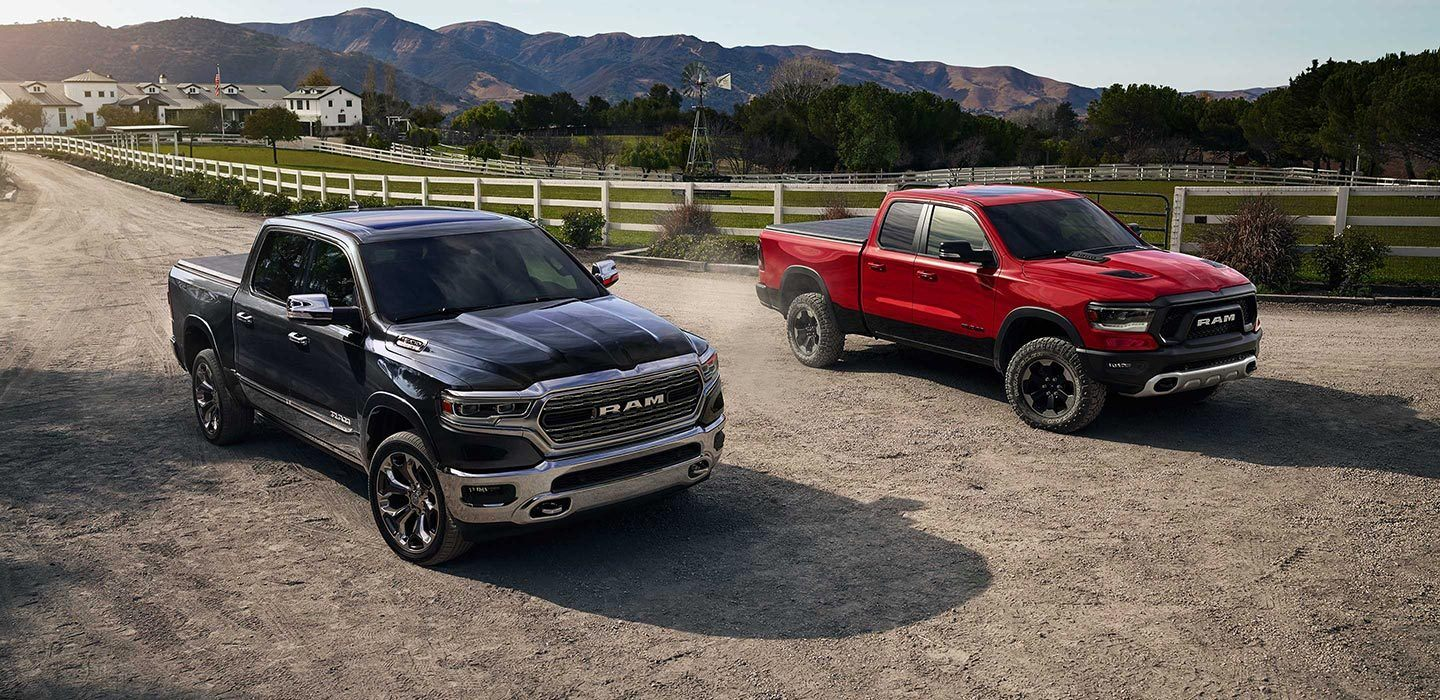 2020 Ram 1500 Red and Blue Exterior Front Views